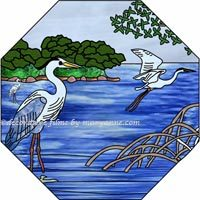 Bird Stained Glass Window Film Art